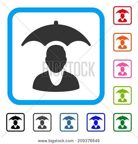 Patient Safety Umbrella icon. Flat gray iconic symbol inside a light blue rounded square. Black, gray, green, blue, red, orange color variants of Patient Safety Umbrella vector.
