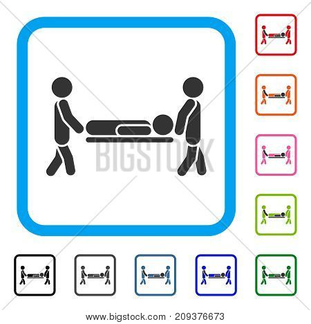 Patient Stretcher icon. Flat gray iconic symbol in a light blue rounded rectangle. Black, gray, green, blue, red, orange color variants of Patient Stretcher vector. Designed for web and software UI.
