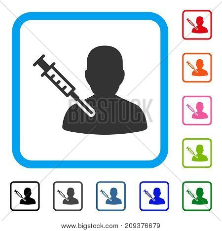 Patient Vaccination icon. Flat grey pictogram symbol in a light blue rounded square. Black, gray, green, blue, red, orange color additional versions of Patient Vaccination vector.