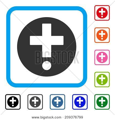 Pharmacy icon. Flat gray pictogram symbol in a light blue rounded squared frame. Black, gray, green, blue, red, orange color additional versions of Pharmacy vector.