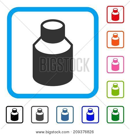 Phial icon. Flat grey iconic symbol in a light blue rounded squared frame. Black, gray, green, blue, red, orange color additional versions of Phial vector. Designed for web and software UI.