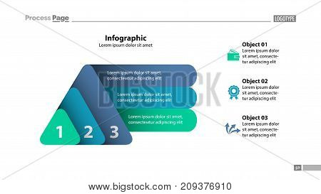 Three elements process chart slide template. Business data. Infochart, diagram, design. Creative concept for infographic, presentation, report. Can be used for topics like marketing, finance, banking.