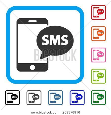 Phone SMS icon. Flat grey iconic symbol in a light blue rounded frame. Black, gray, green, blue, red, orange color variants of Phone SMS vector. Designed for web and application interfaces.