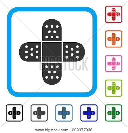 Plaster icon. Flat grey pictogram symbol in a light blue rounded rectangle. Black, gray, green, blue, red, orange color versions of Plaster vector. Designed for web and software user interface.