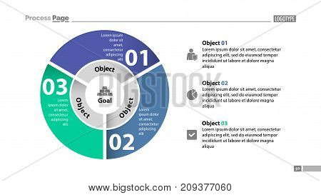 Three sectors process chart slide template. Business data. Step, circle, design. Creative concept for infographic, presentation, report. Can be used for topics like management, production, teamwork.