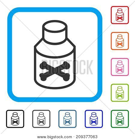 Poison Bottle icon. Flat gray iconic symbol inside a light blue rounded square. Black, gray, green, blue, red, orange color versions of Poison Bottle vector. Designed for web and application UI.