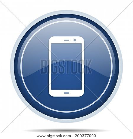 Smartphone blue round web icon. Circle isolated internet button for webdesign and smartphone applications.