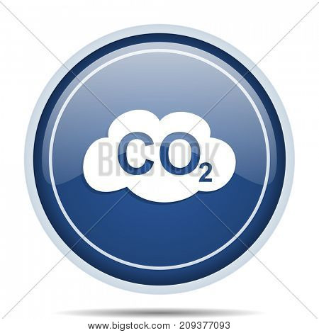 Carbon dioxide blue round web icon. Circle isolated internet button for webdesign and smartphone applications.