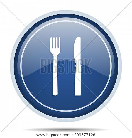 Eat blue round web icon. Circle isolated internet button for webdesign and smartphone applications.