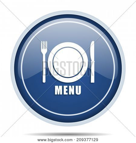 Menu blue round web icon. Circle isolated internet button for webdesign and smartphone applications.