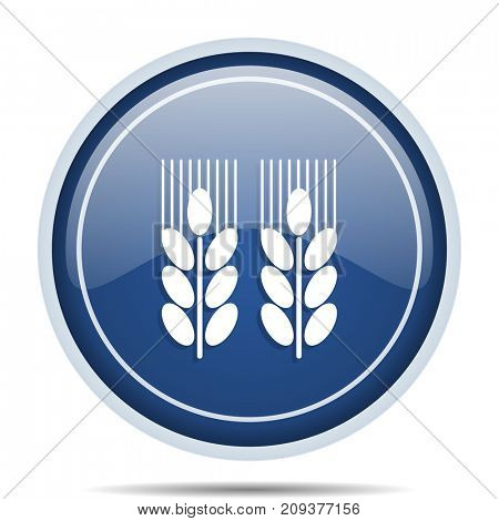 Agricultural blue round web icon. Circle isolated internet button for webdesign and smartphone applications.