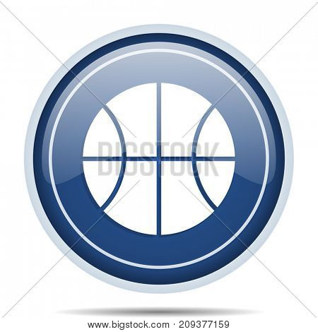 Ball blue round web icon. Circle isolated internet button for webdesign and smartphone applications.