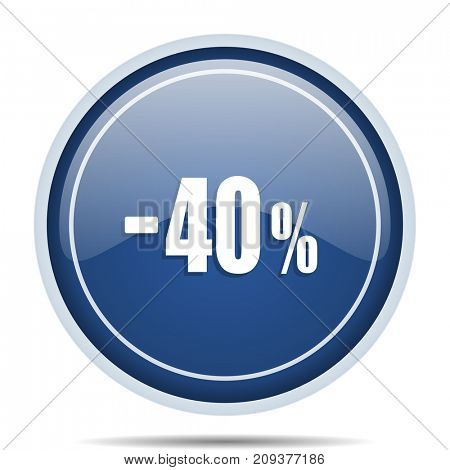 40 percent sale retail blue round web icon. Circle isolated internet button for webdesign and smartphone applications.