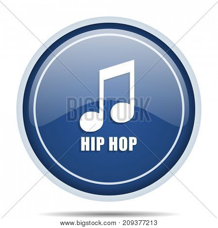 Hip hop blue round web icon. Circle isolated internet button for webdesign and smartphone applications.