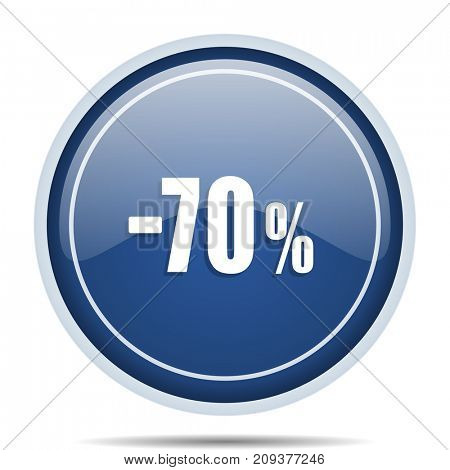 70 percent sale retail blue round web icon. Circle isolated internet button for webdesign and smartphone applications.