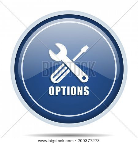 Options blue round web icon. Circle isolated internet button for webdesign and smartphone applications.