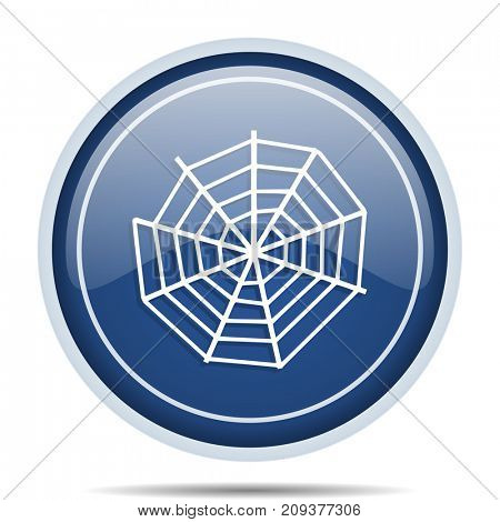 Spider web blue round web icon. Circle isolated internet button for webdesign and smartphone applications.