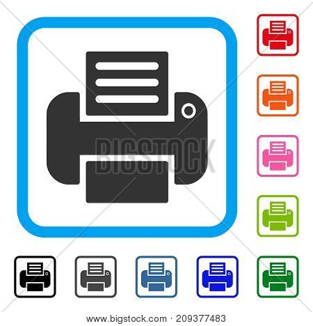 Print icon. Flat grey pictogram symbol in a light blue rounded squared frame. Black, gray, green, blue, red, orange color versions of Print vector. Designed for web and app interfaces.