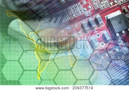 Business background with map electronic device and pen.