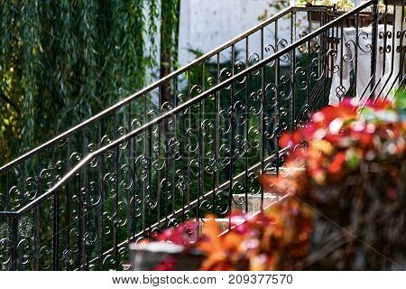 Iron railing, autumn colors, foreground red flower, abstract look