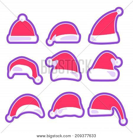 Christmas hat collection. Santa Claus hats set. Happy New Year and Merry Christmas decoration element. Vector illustration.