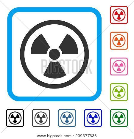 Radiation Danger icon. Flat grey iconic symbol in a light blue rounded rectangular frame. Black, gray, green, blue, red, orange color versions of Radiation Danger vector.