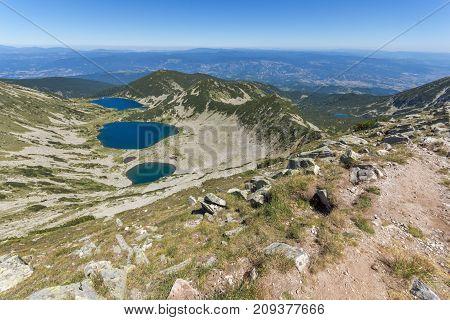 Amazing Landscape of Kremenski lakes from Dzhano peak, Pirin Mountain, Bulgaria