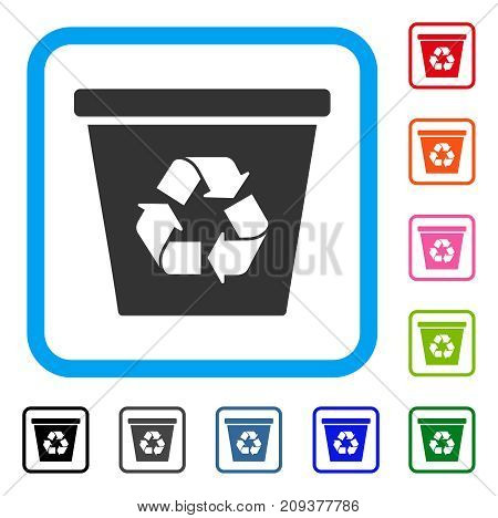 Recycle Bin icon. Flat grey pictogram symbol inside a light blue rounded squared frame. Black, gray, green, blue, red, orange color variants of Recycle Bin vector. Designed for web and app interfaces.