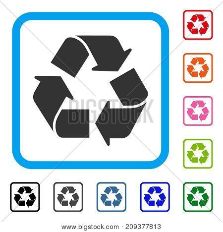 Recycle icon. Flat grey iconic symbol in a light blue rounded squared frame. Black, gray, green, blue, red, orange color additional versions of Recycle vector.