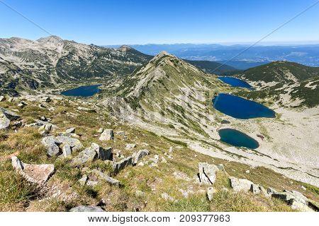 Amazing Landscape of Kremenski and popovo lakes from Dzhano peak, Pirin Mountain, Bulgaria