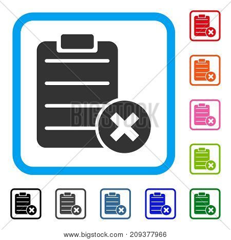 Reject Form icon. Flat gray iconic symbol in a light blue rounded squared frame. Black, gray, green, blue, red, orange color additional versions of Reject Form vector.