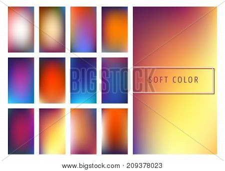 Set of soft color gradients background for mobile screen, app. Vector illustration.