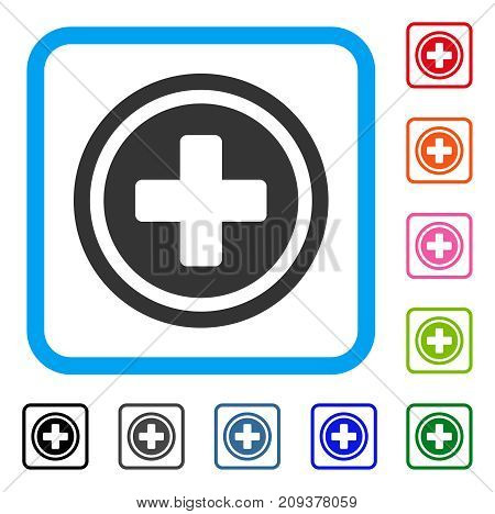Rounded Cross icon. Flat gray pictogram symbol inside a light blue rounded frame. Black, gray, green, blue, red, orange color additional versions of Rounded Cross vector.