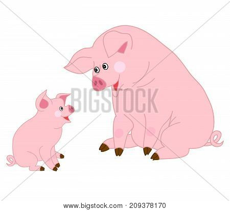Vector cute cartoon pigs looking at each other. Vector pig. Pigs vector illustration