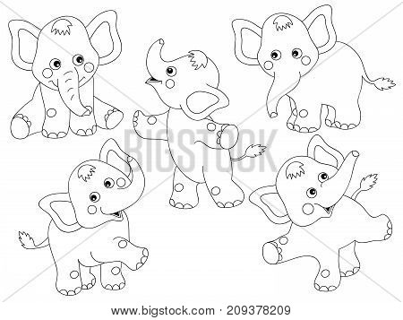 Vector set of black and white cute cartoon elephants. Vector baby elephant. Elephants vector illustration