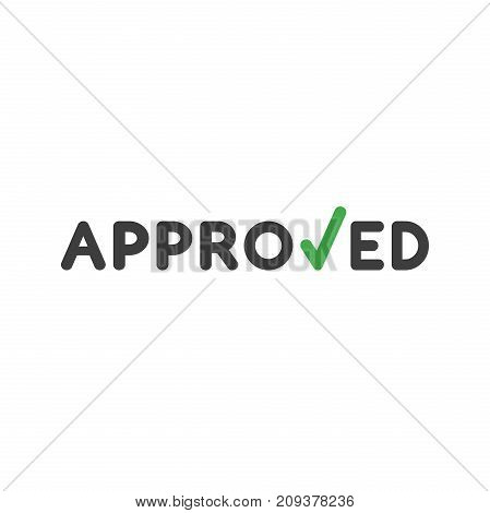 Flat Design Style Vector Concept Of Approved Word With Check Mark