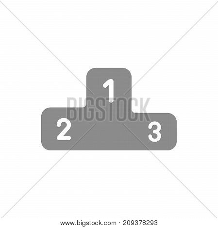 Flat design style vector illustration concept of grey podium symbol icon for the first secound and third places on white background