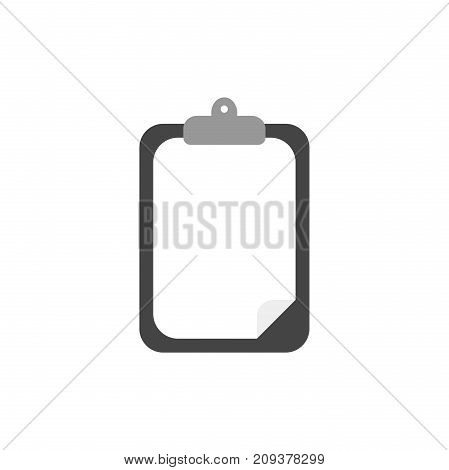Flat design style vector illustration concept of black clipboard with white blank paper symbol icon on white background.