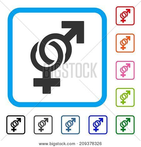 Sexual Symbols icon. Flat gray iconic symbol inside a light blue rounded rectangle. Black, gray, green, blue, red, orange color variants of Sexual Symbols vector.
