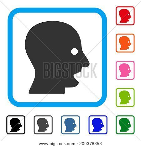 Shouting Head icon. Flat grey iconic symbol in a light blue rounded rectangle. Black, gray, green, blue, red, orange color variants of Shouting Head vector.