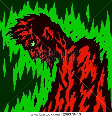 A wounded zombie walks with his head tilted. Vector illustration. Genre of horror. Scary character for Halloween.