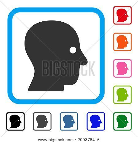 Silent Head icon. Flat grey iconic symbol in a light blue rounded frame. Black, gray, green, blue, red, orange color variants of Silent Head vector. Designed for web and software user interface.