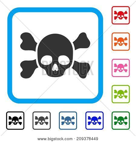 Skull And Bones icon. Flat gray iconic symbol inside a light blue rounded frame. Black, gray, green, blue, red, orange color versions of Skull And Bones vector.