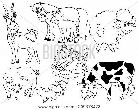 Vector set of black and white cartoon farm animals. Set includes pig, horse, cow, sheep, hen, chicken and goat. Vector farm animals. Farm animals vector illustration