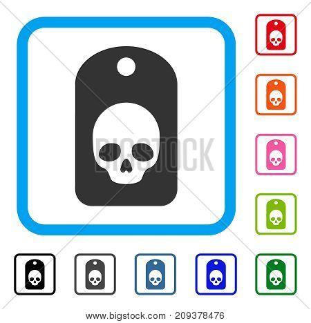 Skull Label icon. Flat grey pictogram symbol in a light blue rounded frame. Black, gray, green, blue, red, orange color variants of Skull Label vector. Designed for web and application user interface.