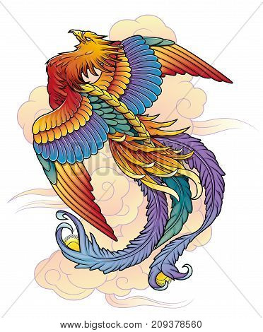 Traditional Oriental Chinese phoenix bird vector illustration