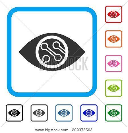 Smart Lens icon. Flat grey pictogram symbol inside a light blue rounded squared frame. Black, gray, green, blue, red, orange color variants of Smart Lens vector.