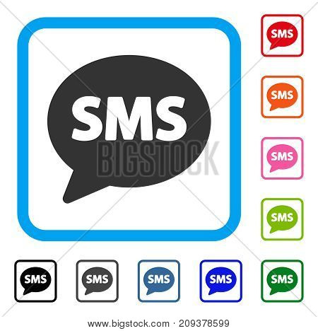 SMS icon. Flat gray iconic symbol in a light blue rounded frame. Black, gray, green, blue, red, orange color versions of SMS vector. Designed for web and software UI.