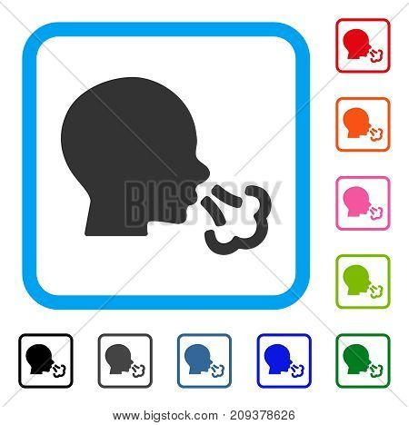 Sneezing icon. Flat grey pictogram symbol in a light blue rounded squared frame. Black, gray, green, blue, red, orange color additional versions of Sneezing vector.