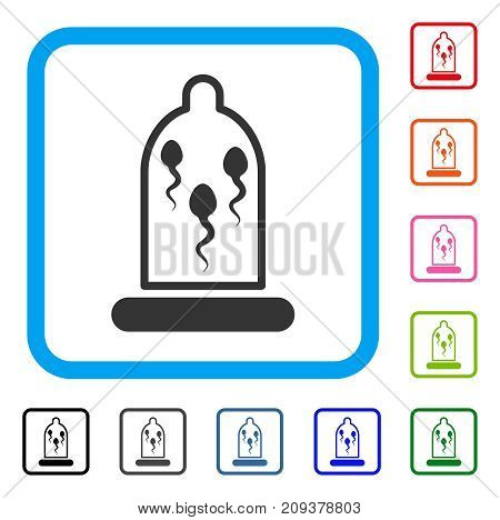 Sperm In Condom icon. Flat grey iconic symbol inside a light blue rounded squared frame. Black, gray, green, blue, red, orange color additional versions of Sperm In Condom vector.